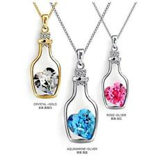2016 Glass Wishing Bottle Pendant Love Heart Necklace Crystal Jewelry Gift GT