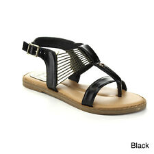 JACOBIES LOMA-2-JA Women's Metal Deco Strap Ankle Gladiator Thong Sandals Shoes