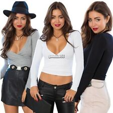 Women Long Sleeve Cotton Blend Casual V Neck Crop Top Shirt Blouse beauty OO5~