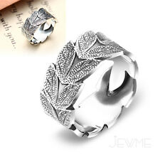 999 Sterling Silver Engraved Leaf Adjustable Finger Band Ring Fine Jewelry Gift