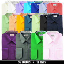 BERLIONI MEN'S CLASSIC SOLID ONE POCKETS FRENCH CONVERTIBLE CUFFS DRESS SHIRT