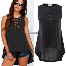 Fashion Ladies Sleeveless Tank Tops Asymmetric Hem Hollow Out Loose Top EA9