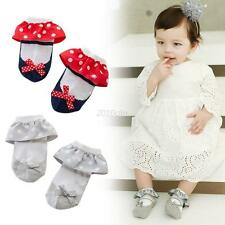Fashion Anti-slip Princess Socks Toddler Baby Girl Lace Cotton Ankle Sock Shoes