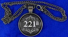 Sherlock Holmes 221B Baker Street Necklace Cabochon Chain Style Length Choice
