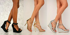 LOT Women Gold Silver Rhinestone Peep Toe High Heels Formal Bridal Faux Leather
