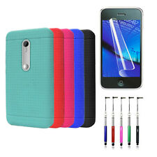Rubberize Gel Flex Cover Case for Motorola Moto G LTE (3rd Gen) + Film + Pen