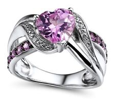 Lab Created Pink Sapphire Ring with Diamond Accent in Sterling Silver with Black