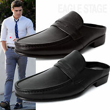 AGOS New Mens Penny Loafer Leather Mules Open Back Slippers Designer Shoes Black