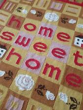 Fabulous Large Vintage Hand Knitted Home Sweet Home Panel Wall Hanging