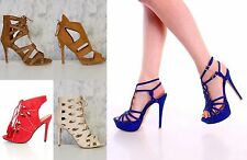 Lot 4 Royal Blue Purple Strappy Platform High Heels Faux Suede FASHION PLATFORM