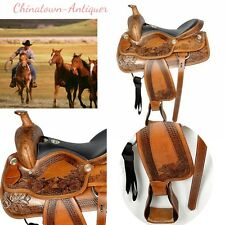 New Optional 14/15/16/17 inches Premium Genuine cow leather western saddle #2969