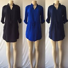 Trendy Sophisticated Textured 3/4 Roll-Up Sleeves Shirt Dress With Side Pockets