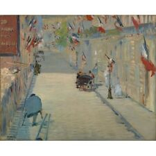 1878 Edouard Manet The Rue Mosnier With Flags French Art Painting Poster Print