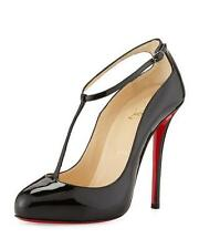 Christian Louboutin DITASSIMA Patent Leather T Strap Heel Pumps Shoes Black $895