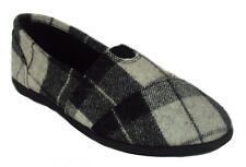 Soda Flat Women Shoes Gray Plaid Black Linen Canvas Slip-on Loafers Comfy OBJECT