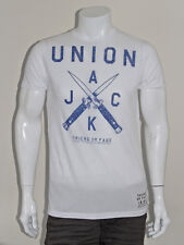 Mens New FRIEND OR FAUX Union Jack Flick Knife Print T-Shirt - White - L XL XXL