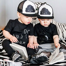 Kids Baby Boy Girl Snapback Adjustable Hip Hop Baseball Cap White Black Sun Hat