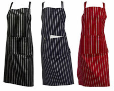 100% Cotton Woven Stripe Butchers Cooks Apron with Pocket Professional Catering