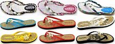 Women's Tropical Flip Flops Thong Flats Slides Sandal Floral Summer Beach sz 5-6