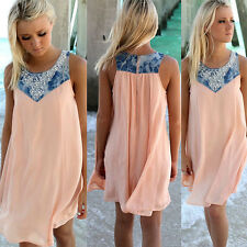 Women Summer Sleeveless Skirt Chiffon Dress Evening Party Beach Sundress Sexy
