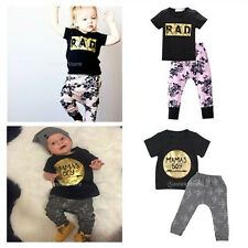 Infant Kids Baby Boys Girls Outfits Clothes T-shirt Tops+Pants Casual Sets 0-2Y