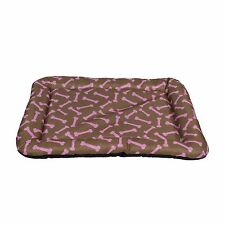 Dog Bed Pet Kennel Cushion Mat Crate Cage Pad Waterproof, Brown and Pink Bone