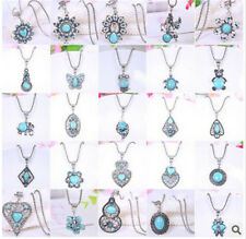 Women Fashion Vintage Tibetan Silver Turquoise Bib Crystal Pendant Long Necklace