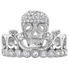Sterling Silver CZ Skull Crown Ring (Rhodium Plated)