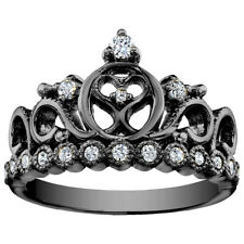 Sterling Silver Heart Crown Ring (Black Rhodium Plated)