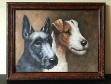 Antique Wire Haired Fox Terrier Dog And Jack Russell Oil Painting On Board