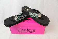 Corkys Demi Turquoise Cheetah Printed Bejeweled Flip Flop Sandal Shoes New