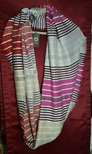 Vince Camuto Metallic Ivory Pink & Red Striped Infinity Scarf with Fringe 187-5