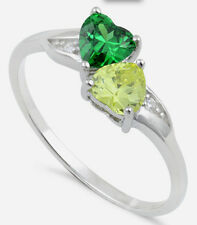 925 Pure Sterling Silver CZ Zirconia Double Heart Ring Green Yellow Two Hearts