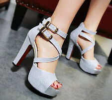 Womens Ladies Peep Toe Ankle Strap Platform Block High Heel Sandals Shoes Size