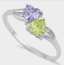 925 Pure Sterling Silver CZ Zirconia Double Heart Ring Purple Yellow Two Hearts