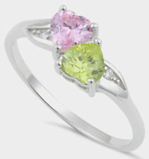 925 Pure Sterling Silver CZ Zirconia Double Heart Ring Pink Yellow Two Hearts