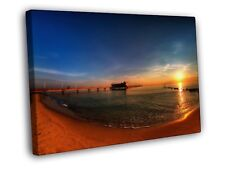Pier Sunset Seashore Beach Beautiful Nature WALL FRAMED CANVAS PRINT