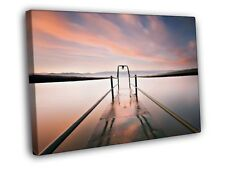 Pier Water Lake Mist Sunset Beautiful Nature WALL FRAMED CANVAS PRINT