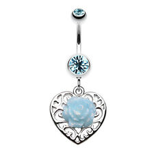 Glittering rose and Decorative Heart Belly Navel Button Ring Aqua 14G
