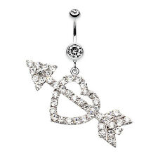 Jeweled Heart Arrow Belly Navel Button Ring Clear 14G