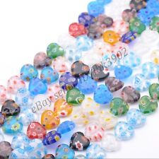 Wholesale Lots Multi-Color Heart Millefiori Glass Craft Charms Spacer Beads 8MM
