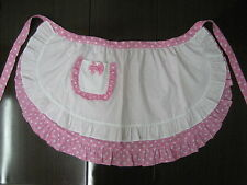 French Maid White Pink Half Cotton Apron Trim Frill Dots Party Hostess Costume