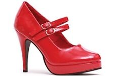 Red Red Double Strap Mary Jane Ellie Shoes 421-Jane Red