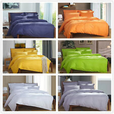 Solid Quilt/Doona Cover Set Double/Queen/Double/Super King Size Fitted Sheets