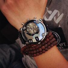 Mens Luxury Automatic Movement Army Date Genuien Leather Band Quartz Wrist Watch