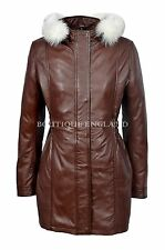 SYLVIA Ladies Brown Classic SYLVIA MidLength Fur Collar Real Leather Jacket Coat