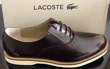 WOMENS LACOSTE SMART SHINY DARK BROWN LACE UP SHOES SIZES UK 4 + UK 6