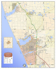 "Muskegon MI Laminated Color Wall Map HUGE 52"" x 64"" Michigan Hanging Art"