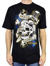 ED HARDY MEN'S DEATH OR GLORY SCREENPRINTED S/S CREW NECK T-SHIRT BLACK/Y MSRP28