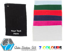 Personalised Embroidered Golf Towel, Tee, Clubs, Ball, Choose your own text